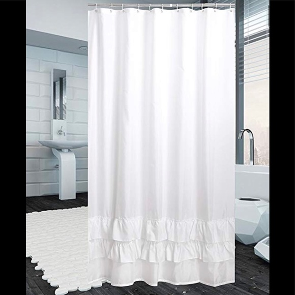 White Ruffle Shower Curtain Polyester 72x80 New